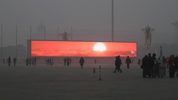 China transmite o nascer do Sol em tela de Led como um alerta contra poluição