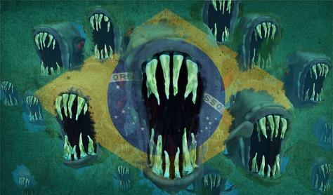 bandeira do brasil sendo destruída